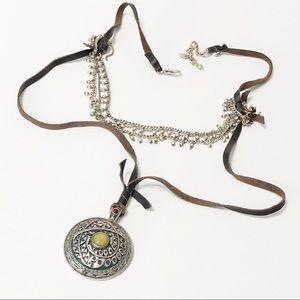 Lucky Brand • Leather Medallion Boho Necklace